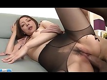 Asian Creampie Dick Gorgeous Hardcore Japanese MILF Office Pantyhose